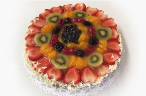 Mixed Fruit Custard Flan